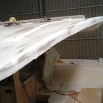 roof rear edge after sanding showing sand through